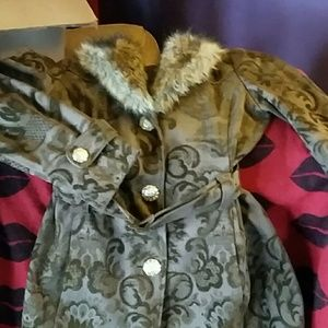 Giacca Jackets & Coats - Giacca brown brocade coat m fur